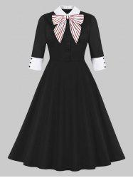 Striped Bowknot Collared 50s Dress -
