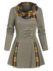 Plaid Print Ruched Mock Button Sweater -