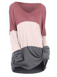 Plus Size V Neck Colorblock Sweater -