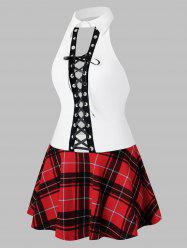 Plus Size Lingerie Lace Up Plaid Schoolgirls Cosplay Dress -