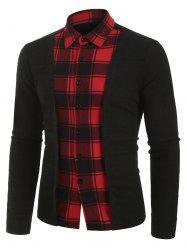 Plaid Print Button Up Ribbed Insert Faux Twinset Shirt -