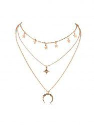Collier Superposé Etoile Lune avec Strass - Or