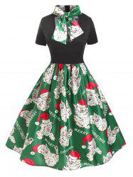 Plus Size Christmas Vintage Bowknot Cat Print Party Dress -