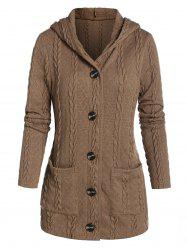 Hooded Double Pockets Cable Knit Cardigan -