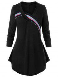 Plus Size Striped Knit Taped Curved Tunic Tee -