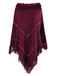 Plus Size Faux Fur Collar Fringed Beading Poncho Sweater -