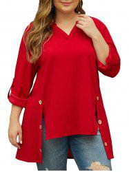 Side Buttoned Tab Sleeve High Low Plus Size Blouse -