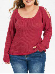 Plus Size froid épaule manches raglan Pull - Rouge 1X
