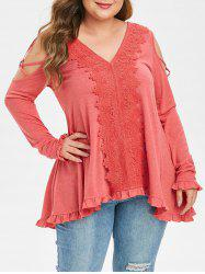 Plus Size Cold Shoulder Lace Applique Strappy T Shirt -