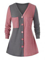 Plus Size Two Tone Chest Pocket Tunic Knit Sweater -