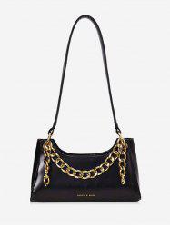 Metal Chain PU Leather Shoulder Bag -