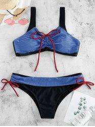 Front Cinched Bowknot Striped Bikini Swimsuit -