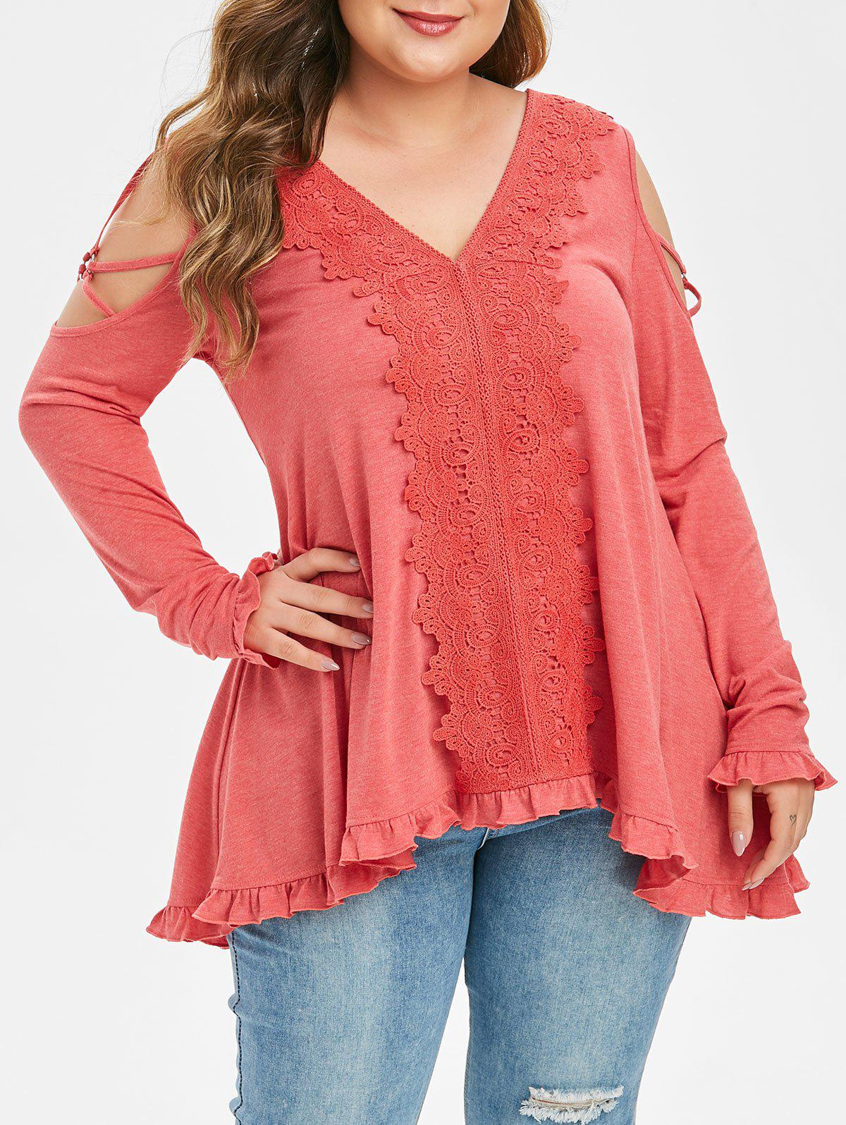 Discount Plus Size Cold Shoulder Lace Applique Strappy T Shirt