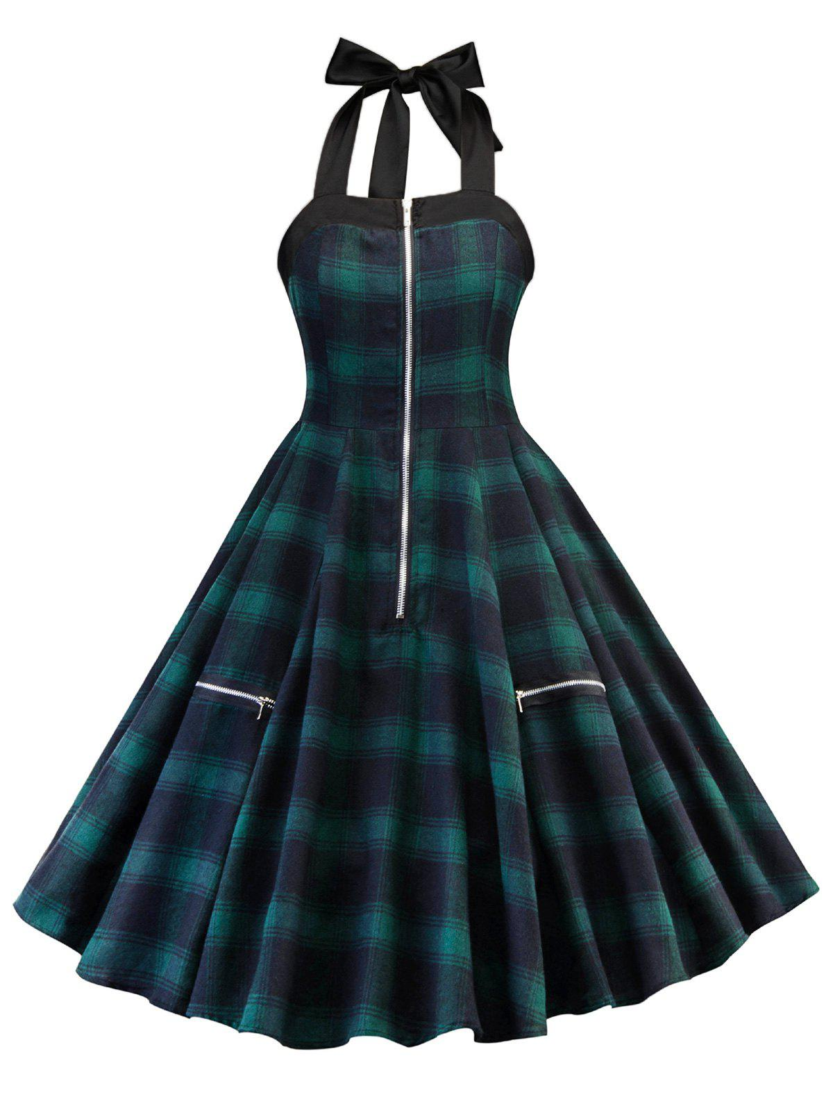 Shops Zipper Embellished Plaid A Line Dress