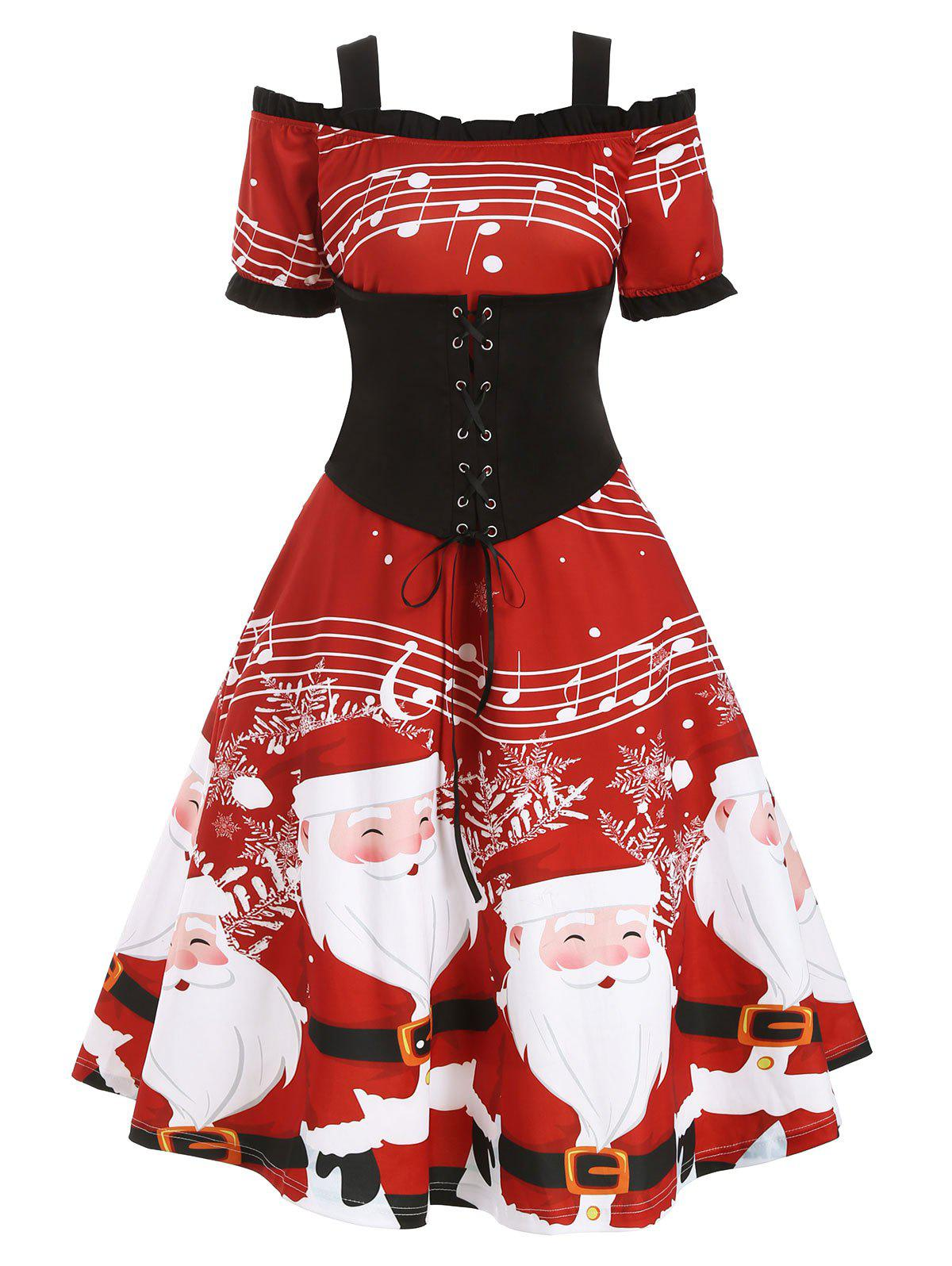 Trendy Christmas Santa Claus Musical Note Lace Up Ruffle Dress
