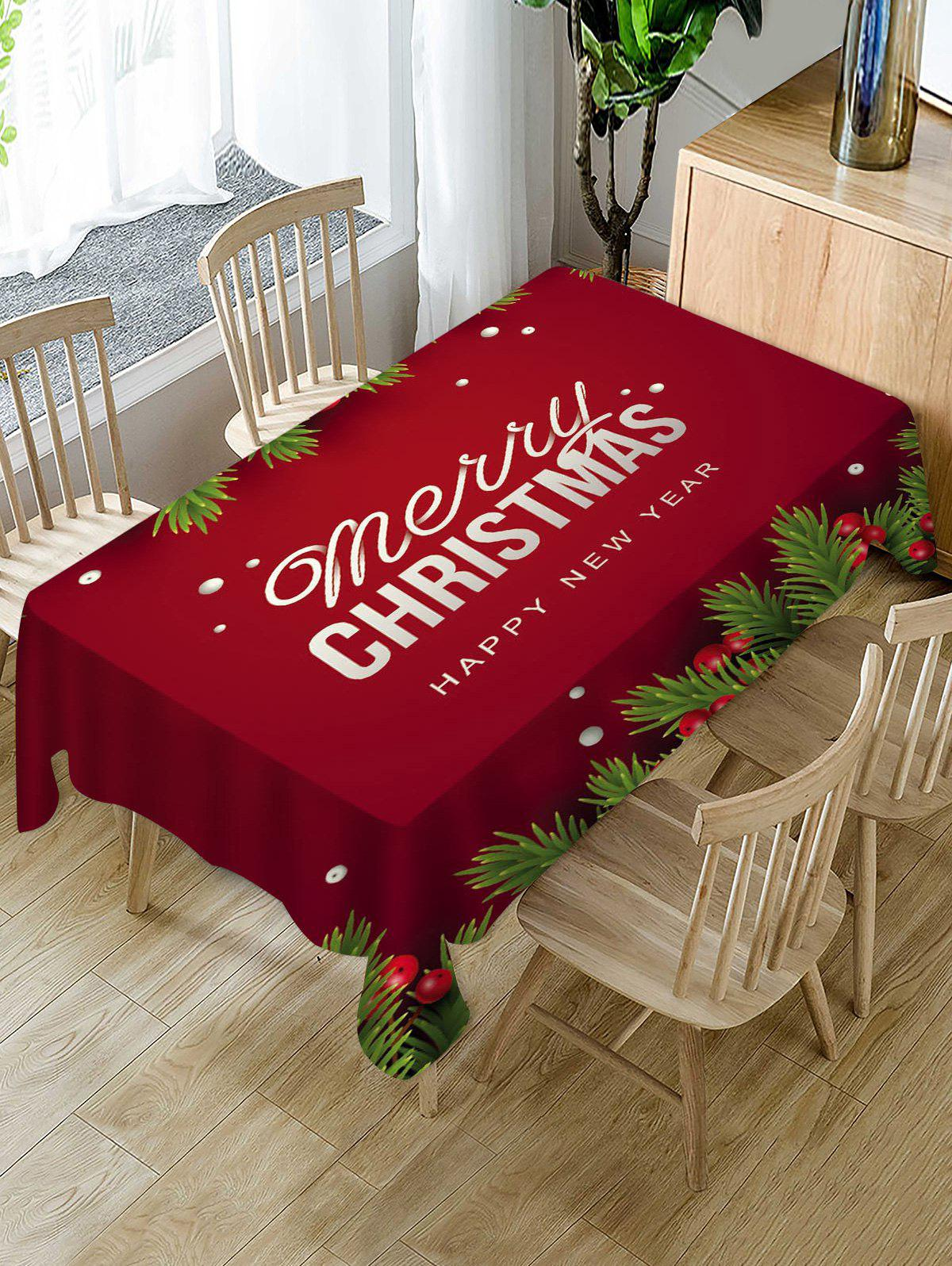 Hot Merry Christmas New Year Fabric Table Cloth