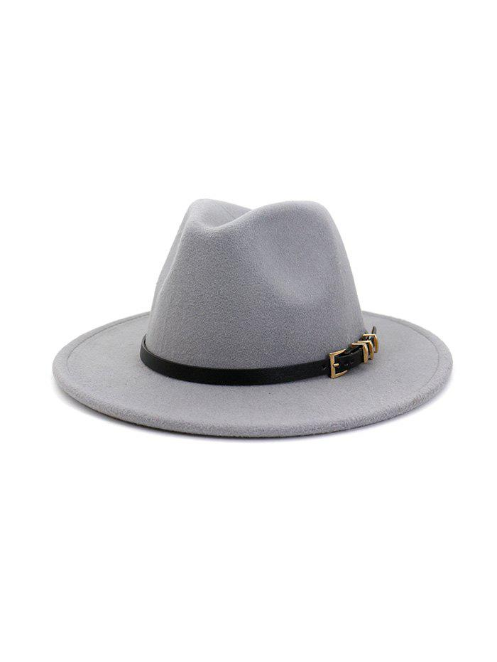 Trendy Winter Woolen Buckle Belt Design Hat