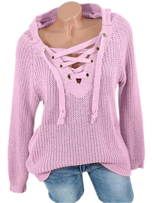 Cheap Lace Up Raglan Sleeves Hooded Sweater