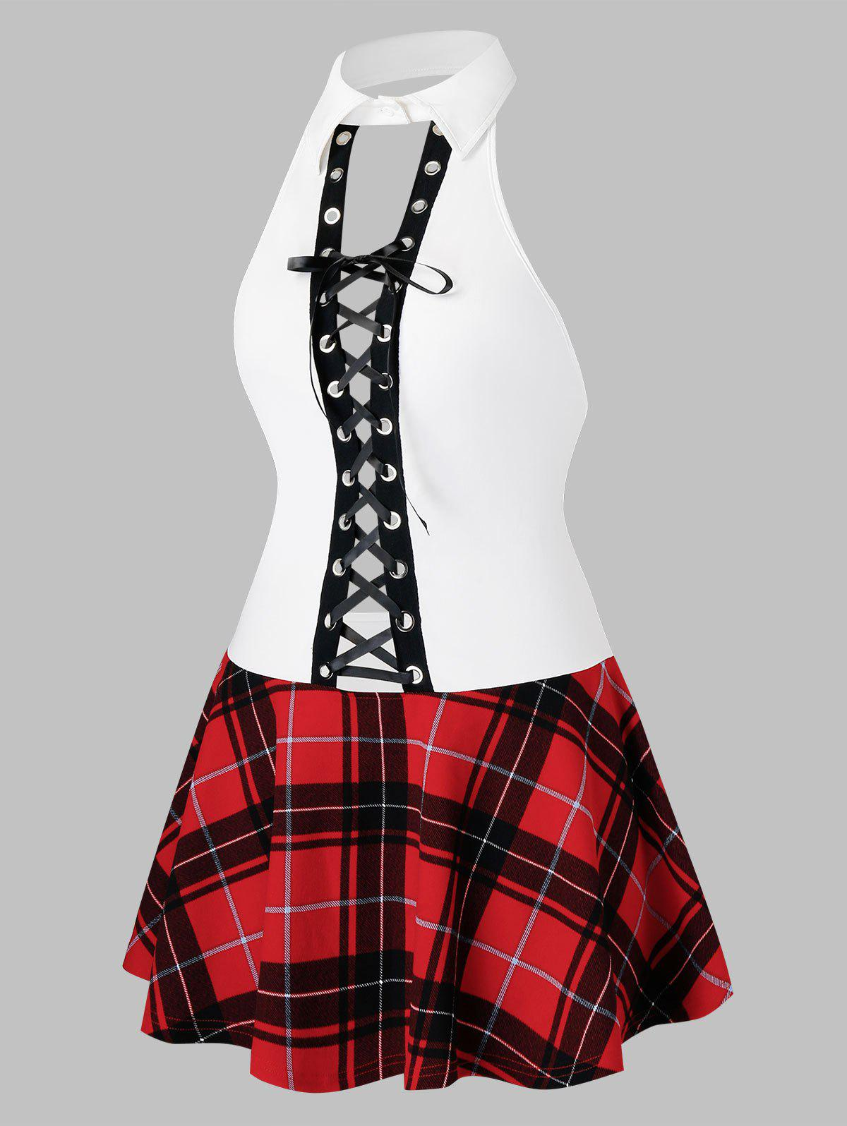 Fancy Plus Size Lingerie Lace Up Plaid Schoolgirls Cosplay Dress