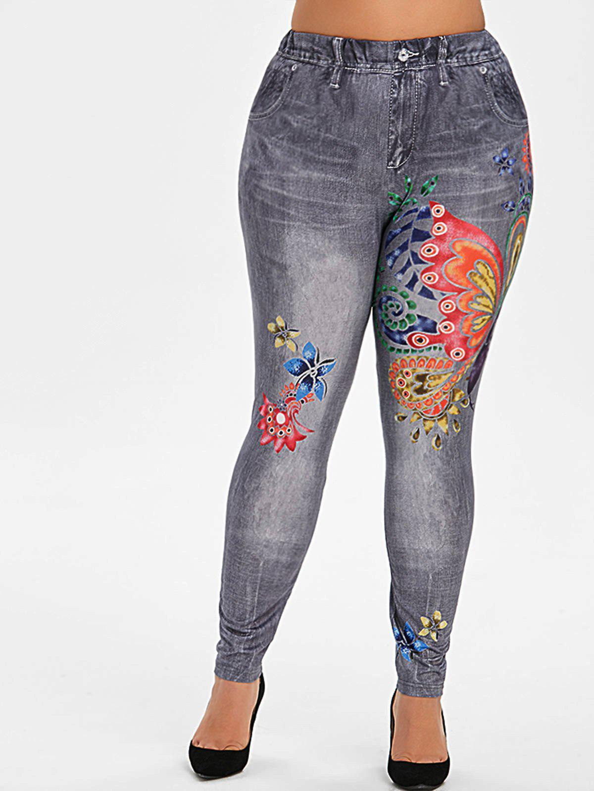 Buy Plus Size Butterfly Flower 3D Print High Waisted Jeggings