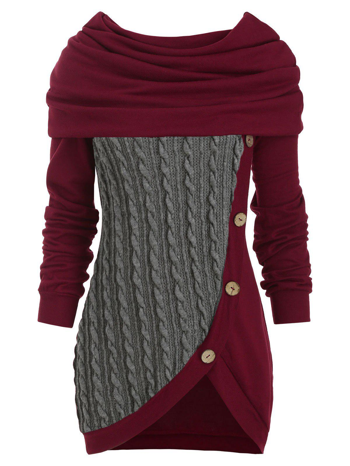 New Cowl Neck Cable Knit Tunic Knitwear