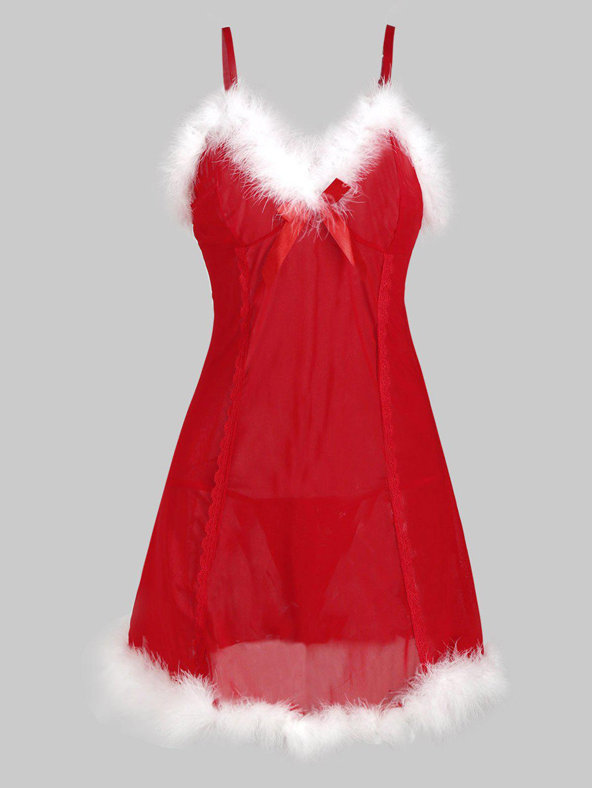 Shop Christmas Hat T Back Faux Fur Sheer Mesh Plus Size Babydoll