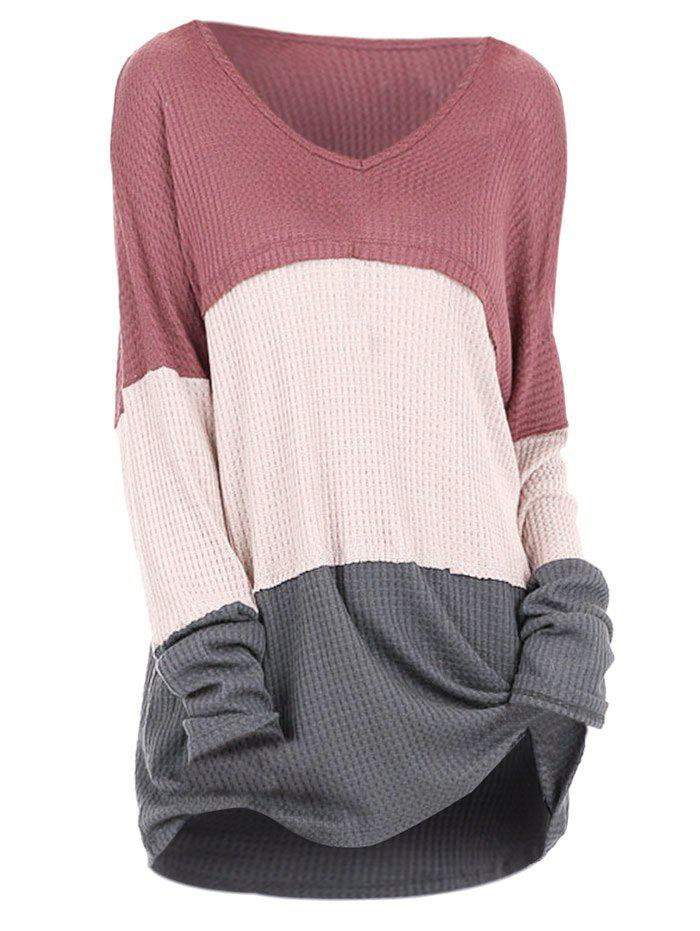 Plus Size V Neck Colorblock Sweater