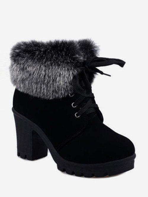Hot Faux Fur Foldover Lace Up High Heel Boots