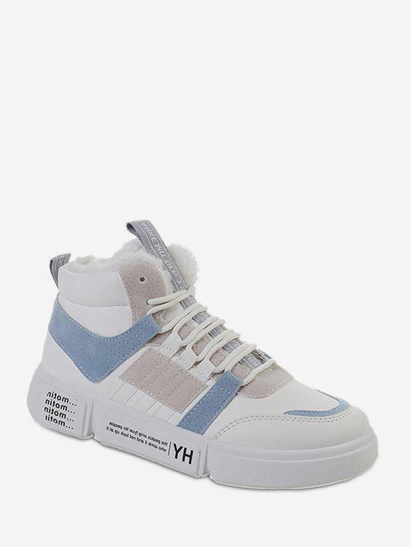 New Color-blocking Fleece High Top Skate Shoes