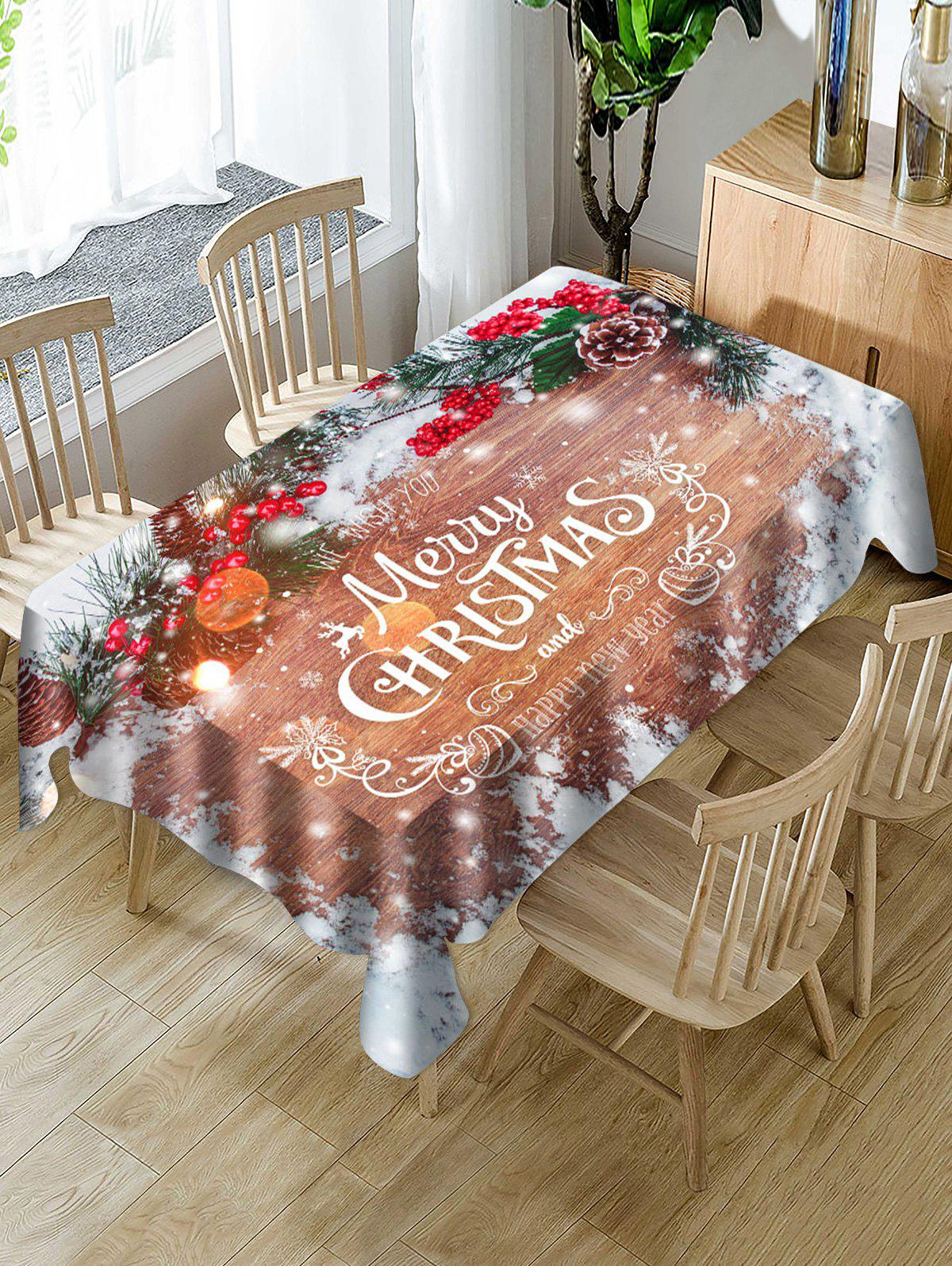 Cheap Christmas Branches Greeting Print Waterproof Fabric Tablecloth