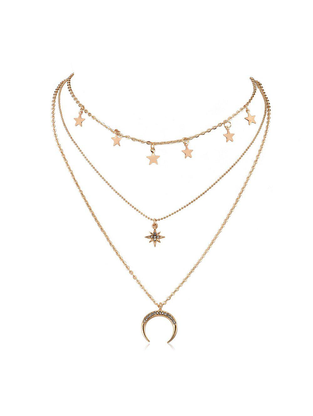Collier Superposé Etoile Lune avec Strass Or