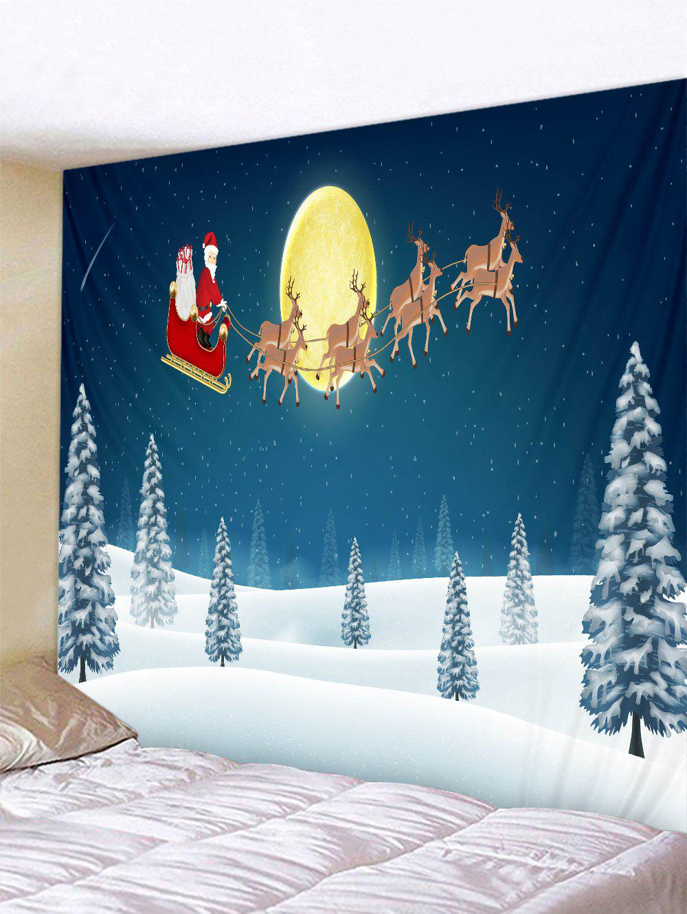 Cheap Father Christmas Snow Deer Printed Tapestry