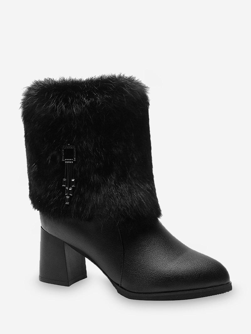 Fancy Faux Fur Chunky Heel Tasseled PU Leather Boots