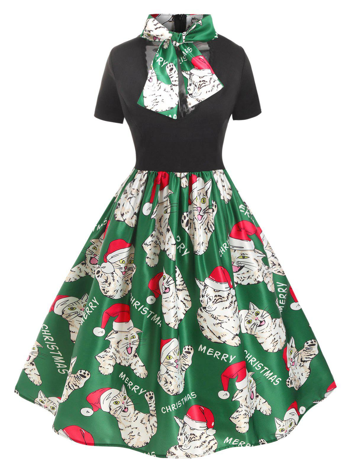 Latest Plus Size Christmas Vintage Bowknot Cat Print Party Dress
