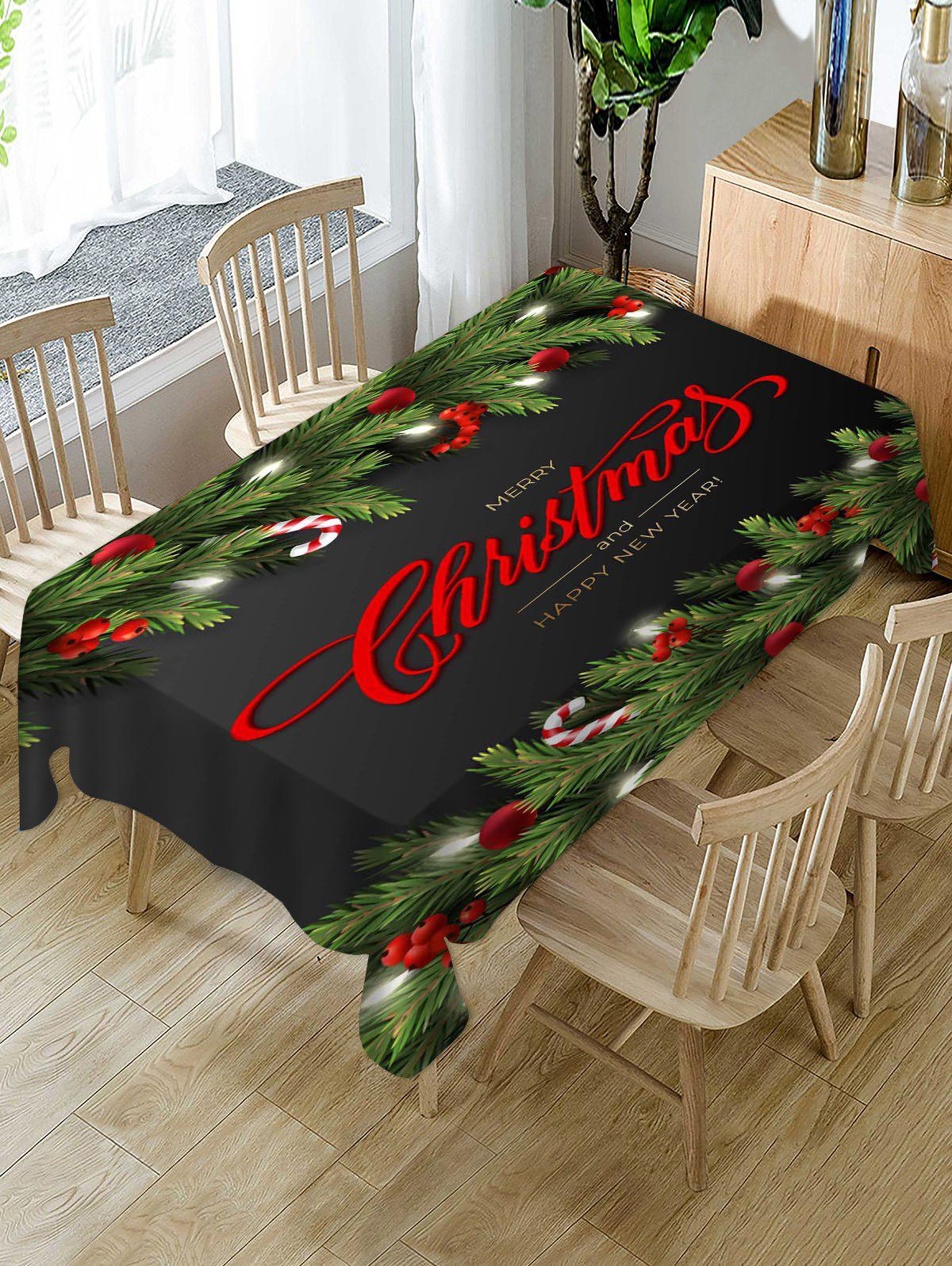 Chic Christmas Greeting Ball Branches Print Waterproof Fabric Tablecloth