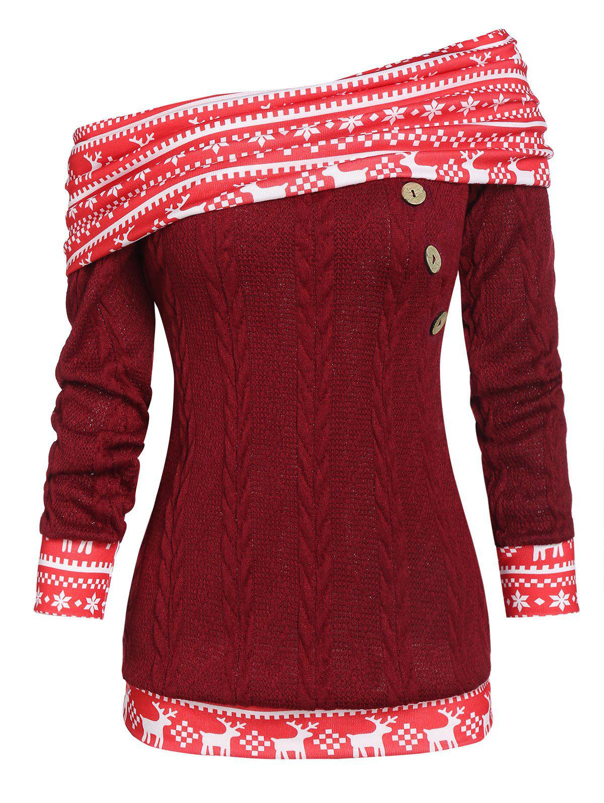 Hot Christmas Convertible Skew Neck Elk Print Cable Knit Sweater