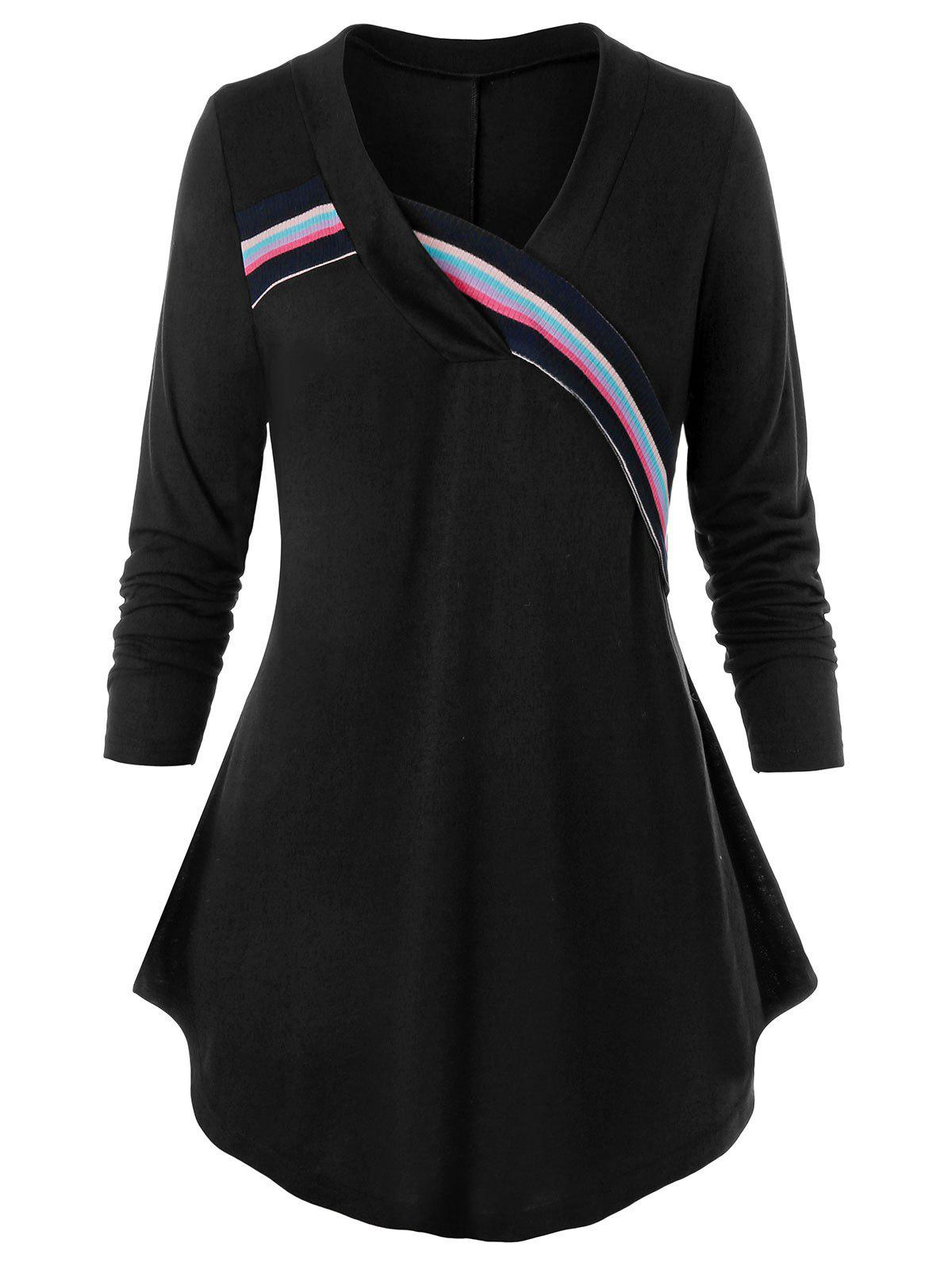 Discount Plus Size Striped Knit Taped Curved Tunic Tee