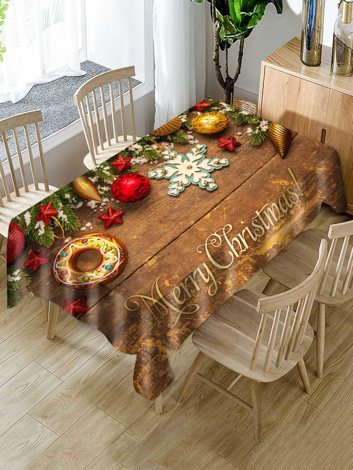Unique Merry Christmas Wooden Star Fabric Table Cloth