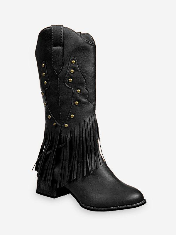Sale Fringe Chunky Heel Knight Mid Calf Boots