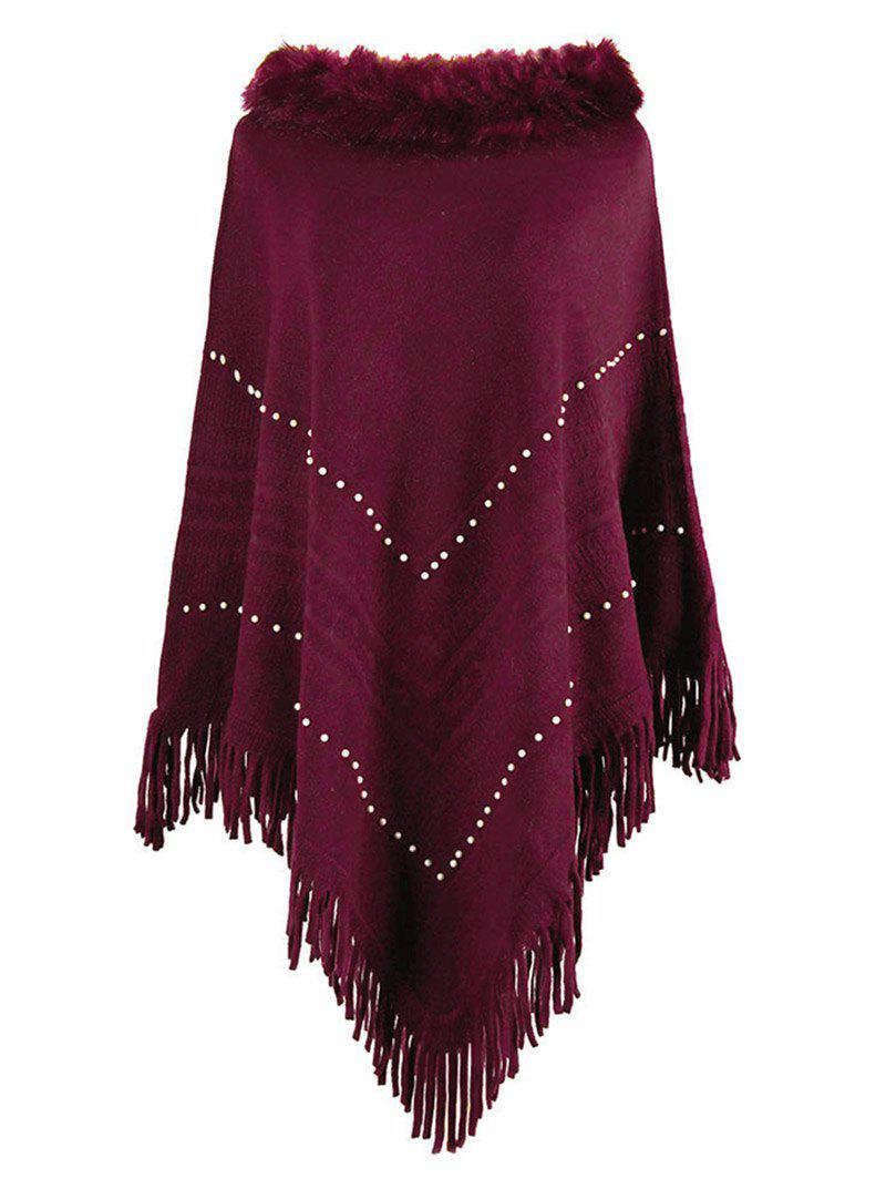 Unique Plus Size Faux Fur Collar Fringed Beading Poncho Sweater