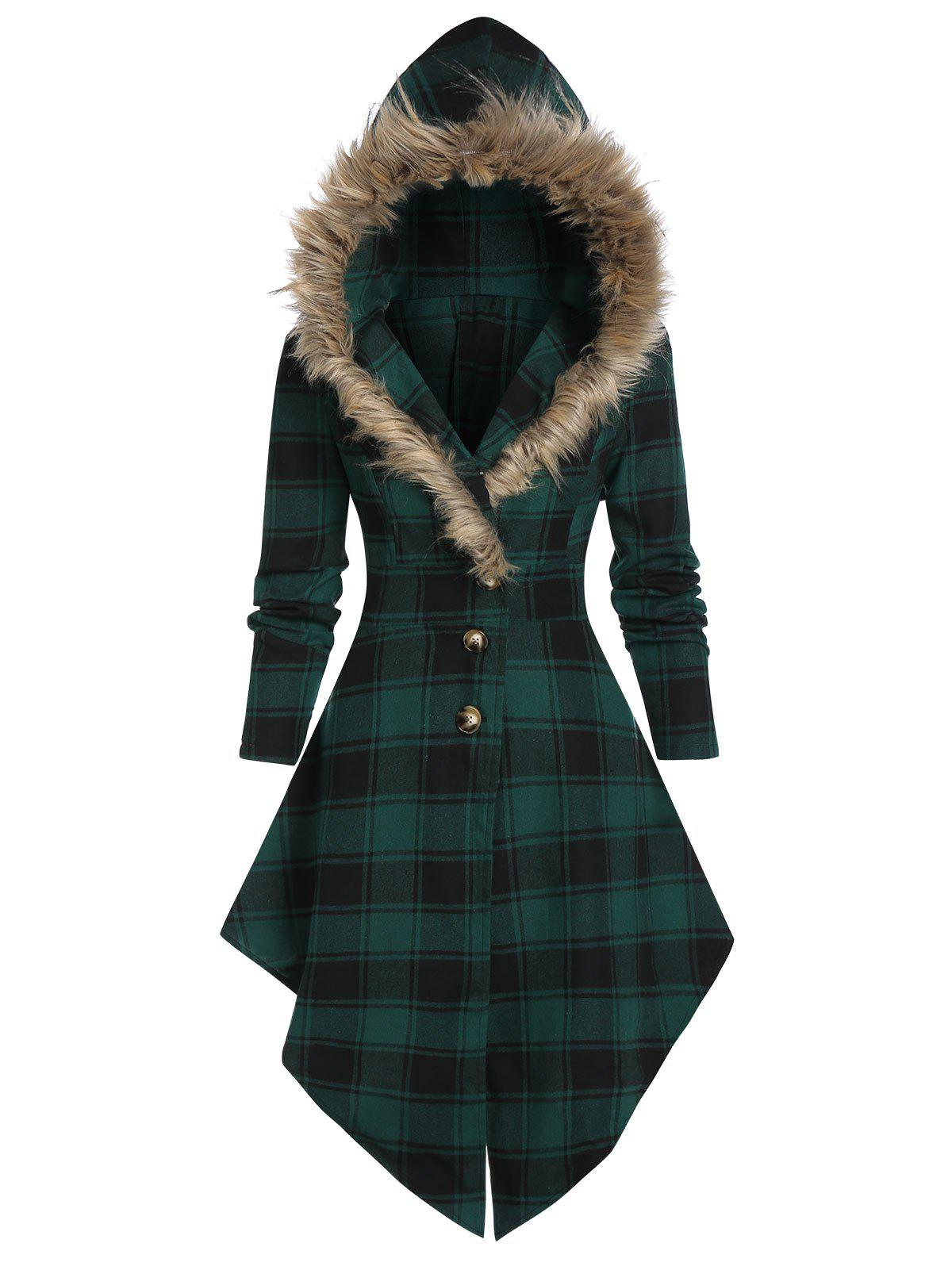 Best Plaid Print Lace-up Skirted Coat with Faux Fur Hood