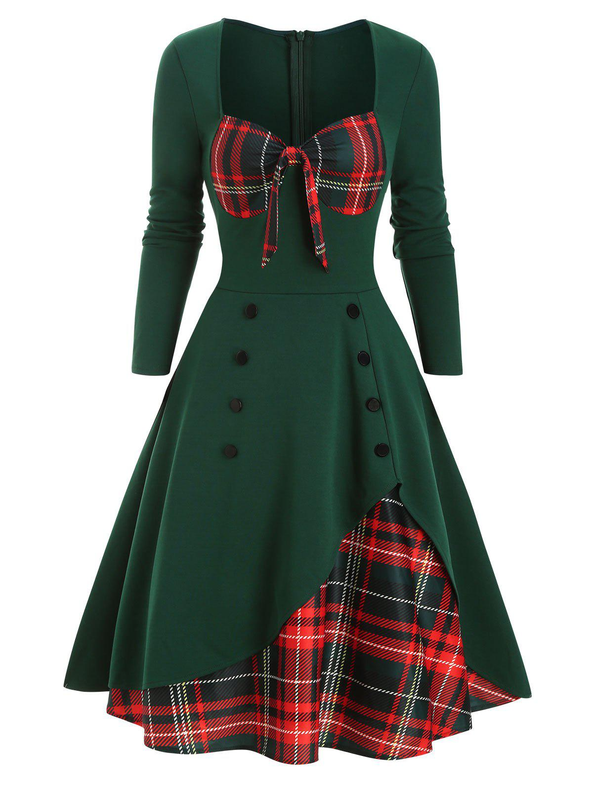 Trendy Plaid Button Embellished Bowknot Sweetheart Dress