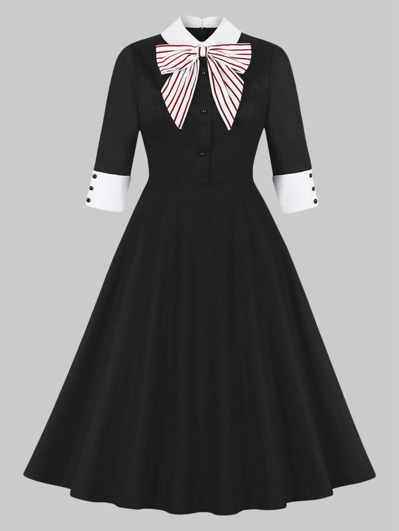 New Striped Bowknot Collared 50s Dress