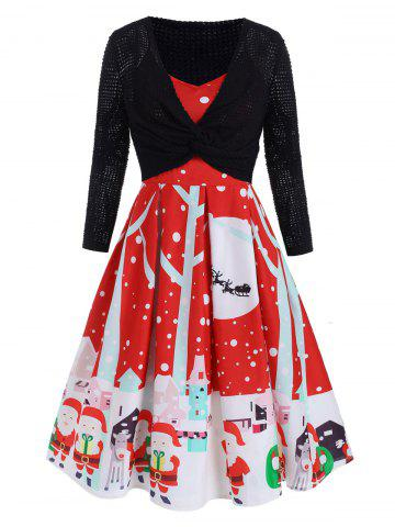 Plus Size Vintage Christmas Dress With Front Twist Top Set