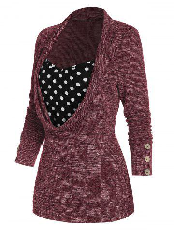 Polka Dot Print Button Embellished Ribbed Faux Twinset Sweater