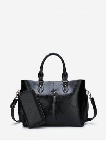 2 Piece Solid PU Leather Tote Bag Set