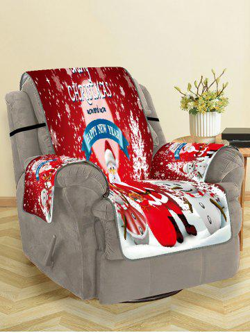 Merry Christmas Santa Claus Snowman Couch Cover - LAVA RED - SINGLE SEAT