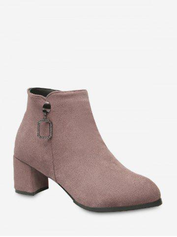 Square Pendant Pointed Toe Chunky Heel Ankle Boots