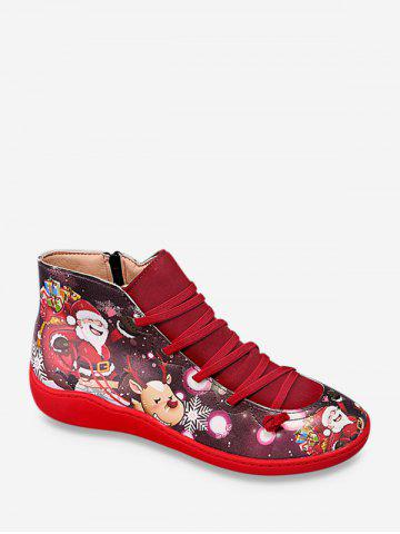 Christmas Santa Print Casual Ankle Boots