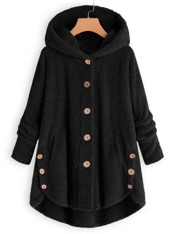 Plus Size Faux Shearling Buttons Hooded Coat - BLACK - 5X